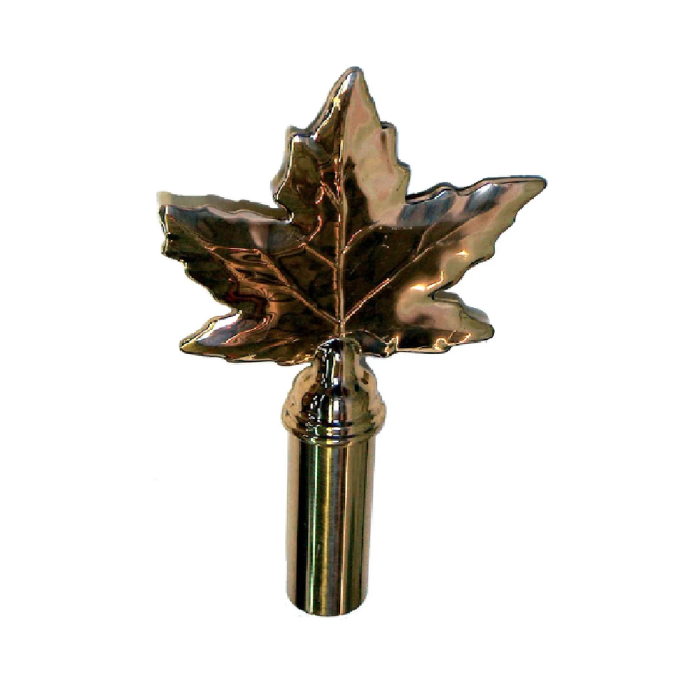 Maple Leaf Brass Finial Pole Top