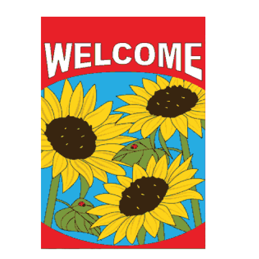 """Welcome"" on Sunflowers 36""x 60"""