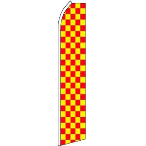 Feather, Blade, Checkered, Red, Yellow