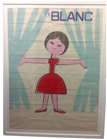 "Rare Vintage 1940's Large French Advertising Poster ""Le Blanc"" Framed Artwork"