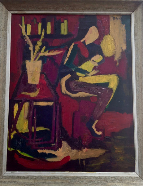 Joan Brown Original Oil Painting 1968 Signed, art decor nyc