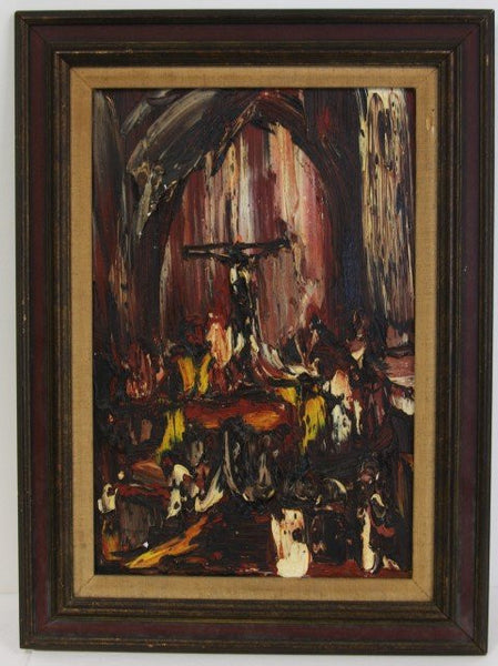Joachim Probst 'Motif' Oil on Masonite 1966 Charmel Collection