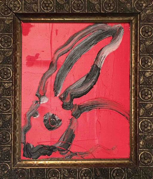 Hunt Slonem Red Bunny Oil on Board 2010 Signed Framed