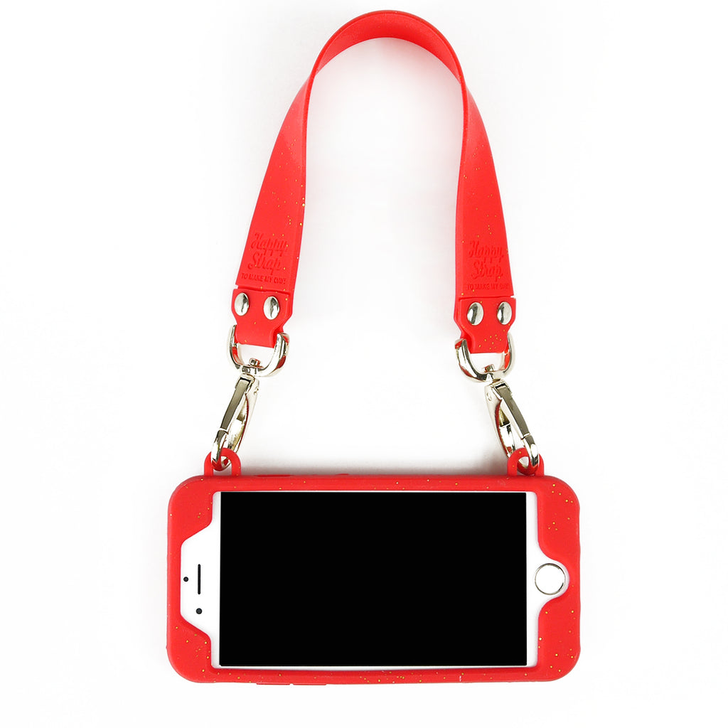 iPhone 7/8 Case -Seal Stamped Case with Happy Strap (Red with Glitters)