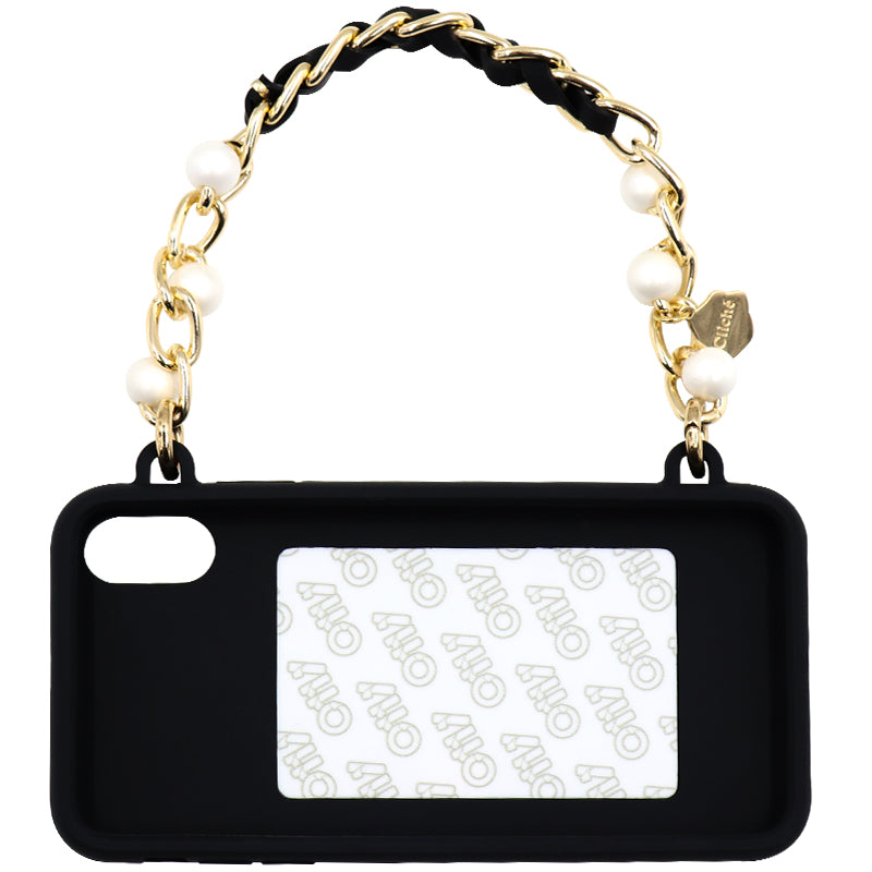 iPhone X/XS Seal Stamped Case with Short Celebrity Pearl Strap