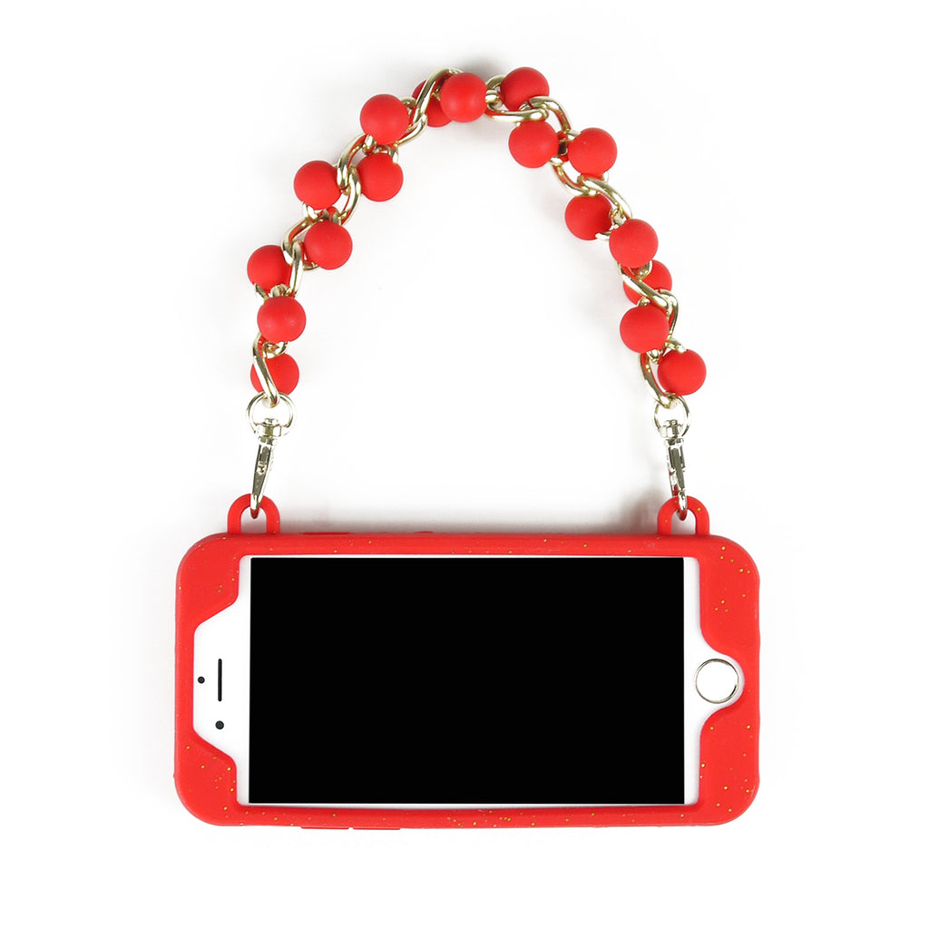 iPhone 7/8 Case -Seal Stamped Case with Beaded Strap (Red with Glitters)
