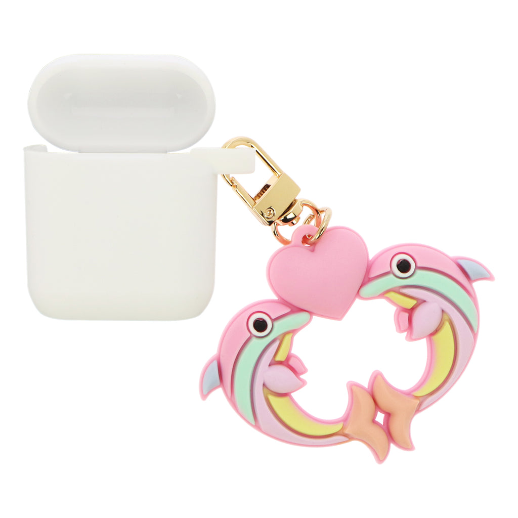 White AirPods Case - Dolphins in Love
