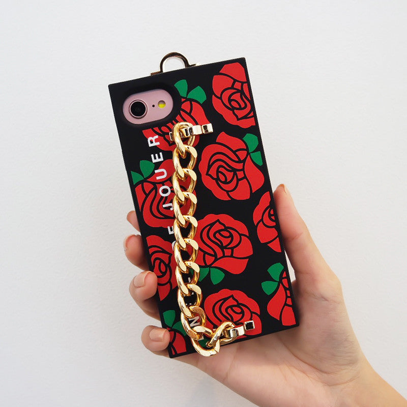 iPhone 7/8 Red Rose Chain Case