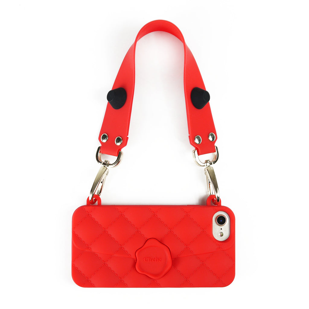 iPhone 7/8 Seal Stamped Case with Happy Strap (Red Edition)