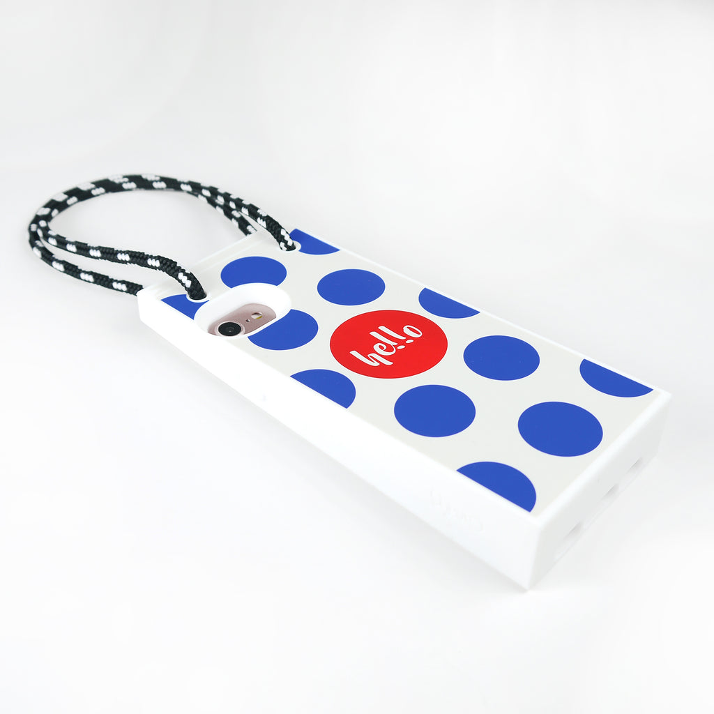 iPhone 7/8 Shopping Bag Case (White and Blue Polka Dots)