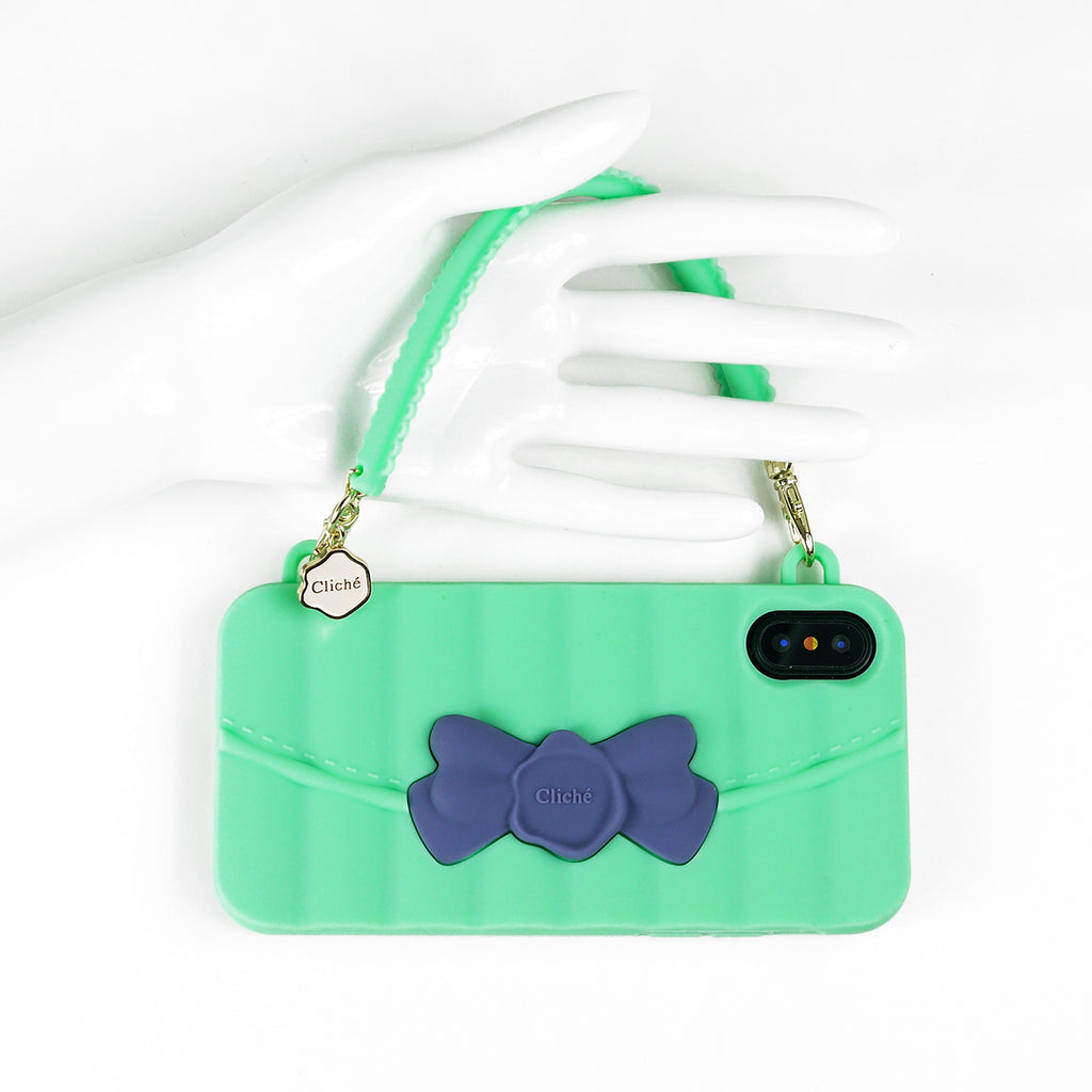 iPhone X/Xs Case - Matelasse (Green with Blue Ribbon)