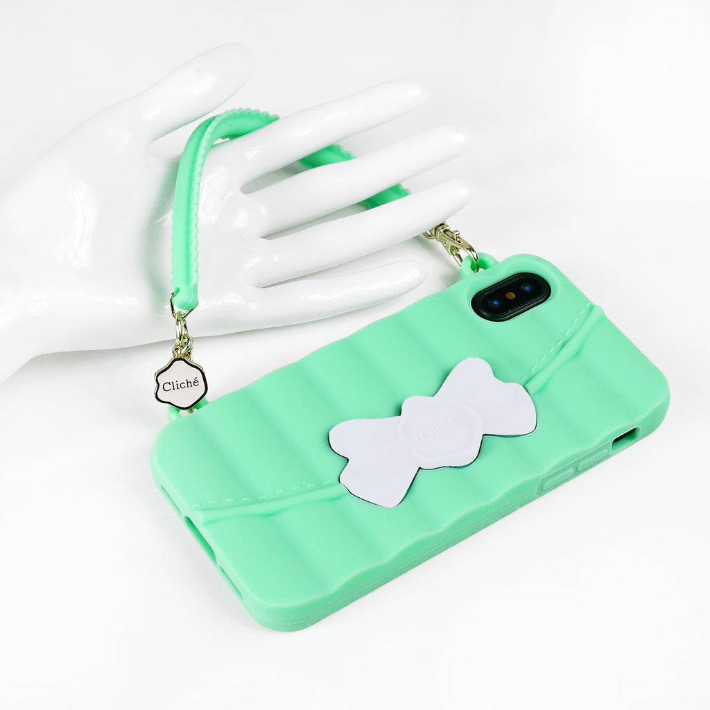 iPhone X/Xs Case - Matelasse (Green with White Ribbon)