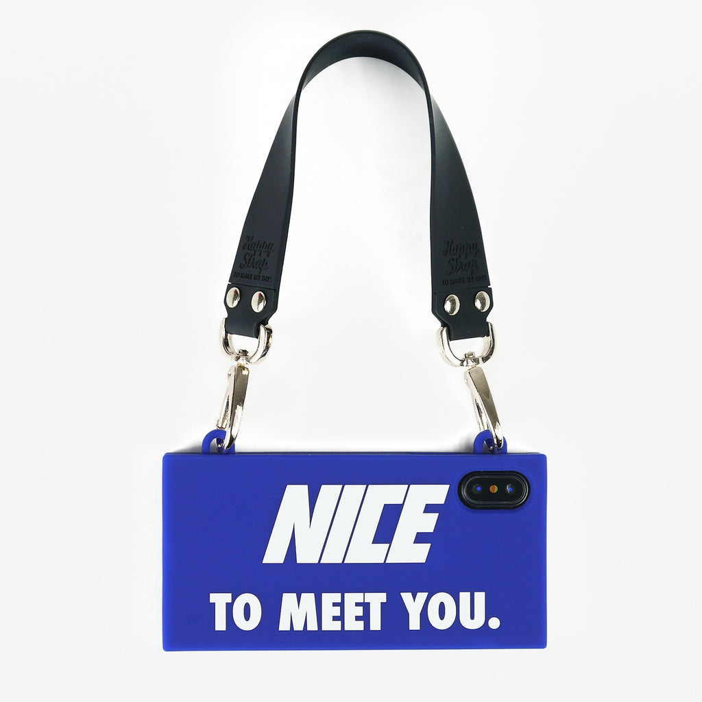 iPhone X/Xs Handbag Case - Nice to Meet You (Blue)