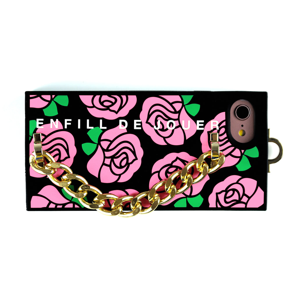 iPhone 7/8 Pink Rose Chain Case