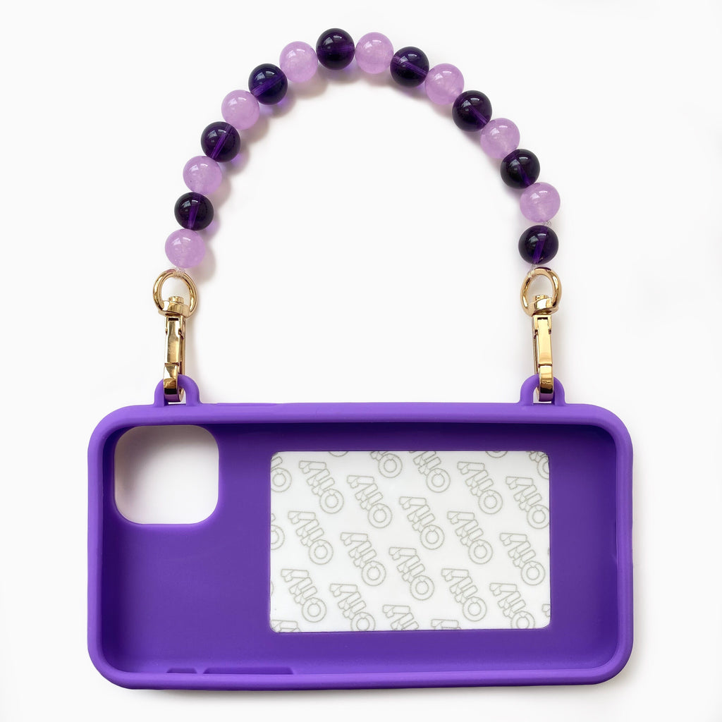 iPhone 11 Pro Max Purple Seal Stamped Case with Purple Crystal Strap