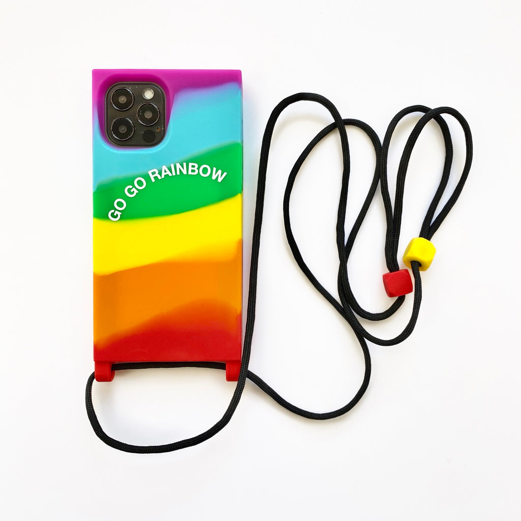 iPhone 12 / 12 Pro Lanyard iPhone Case - Go Go Rainbow