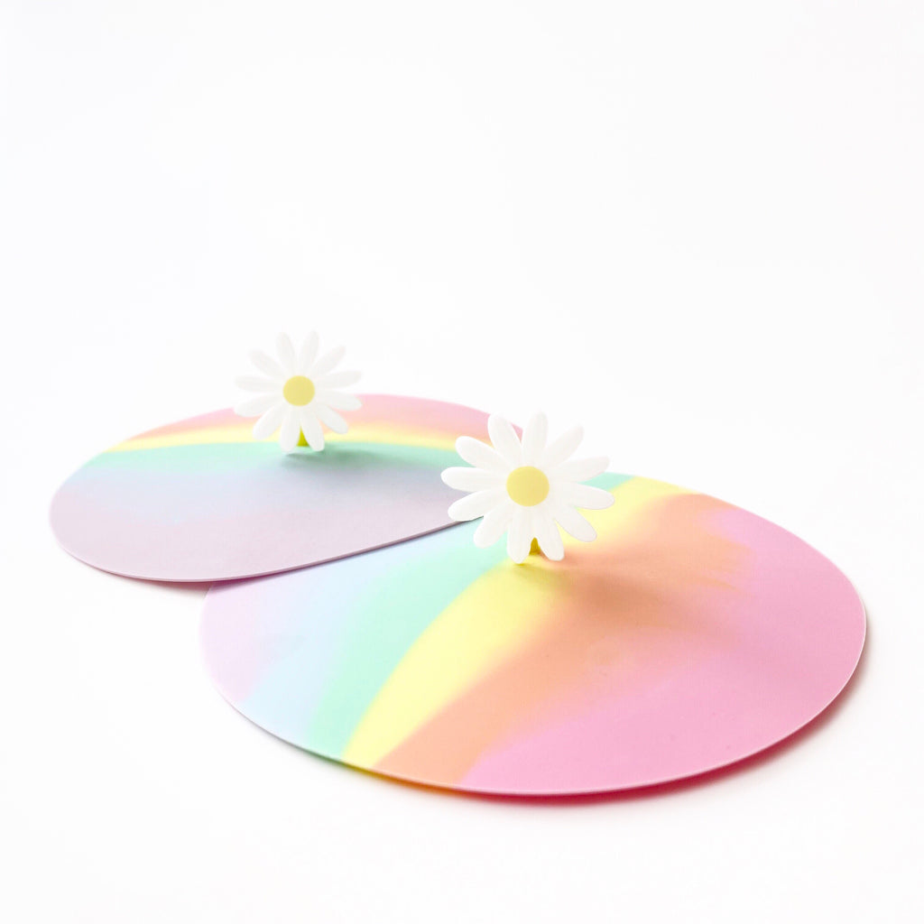 Pack of 2 Silicone Cup Lids (Daisy/Rainbow)