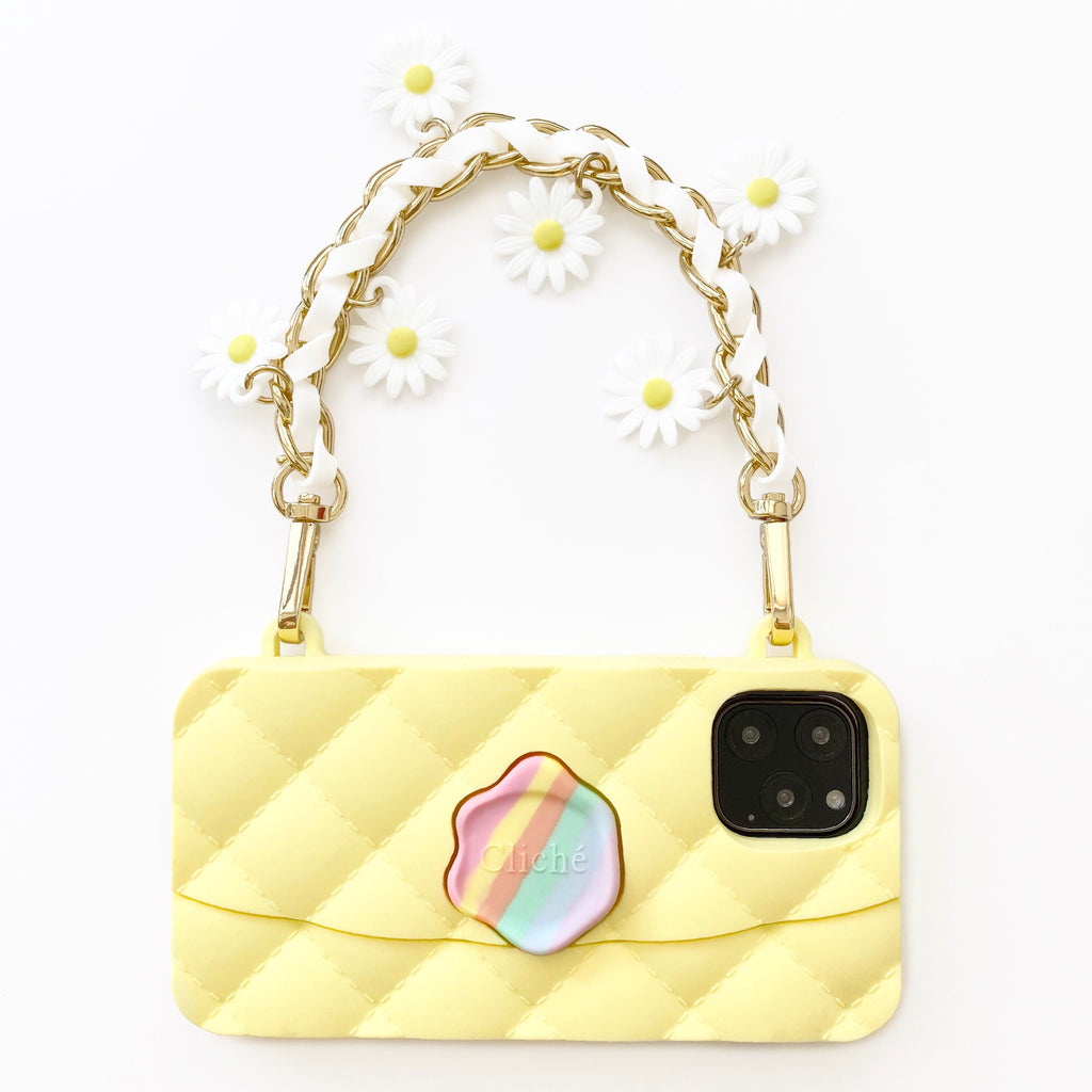 iPhone 11 Pro Seal Stamped Case with Daisy Charms Strap (Yellow)