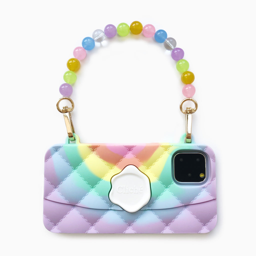 iPhone 11 Pro Seal Stamped Case with Rainbow Crystal Strap