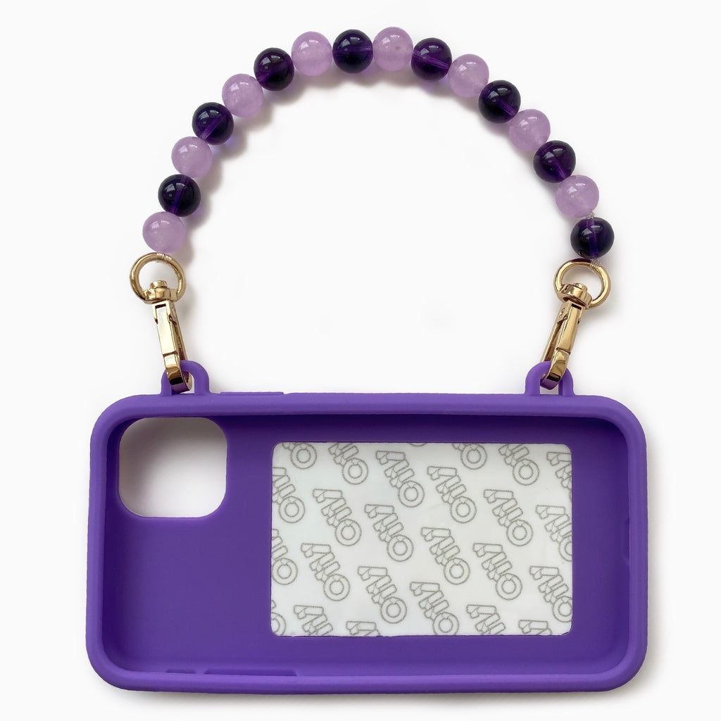 iPhone 11 Purple Seal Stamped Case with Purple Crystal Strap