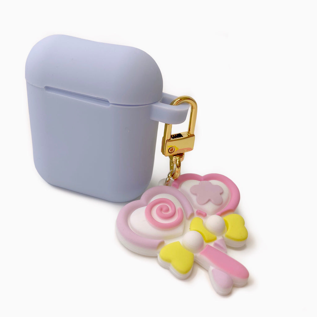 Blue Silicone AirPods Case with Magic Heart Candy Lollipop
