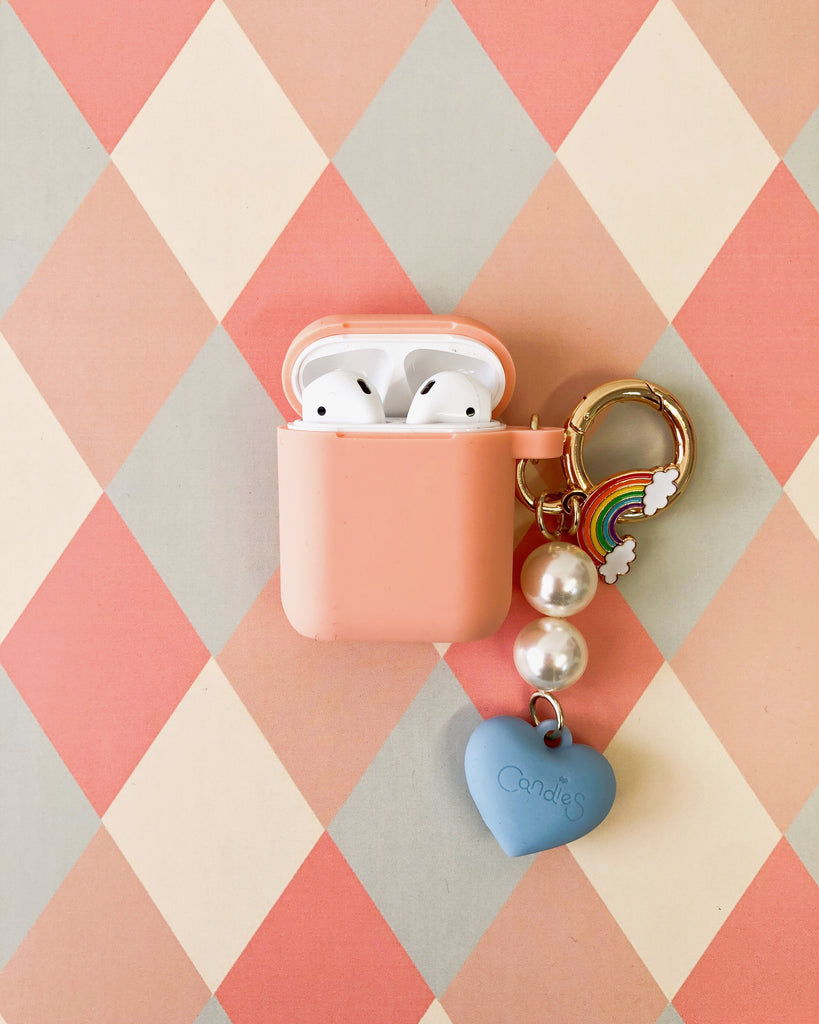 Peach Silicone AirPods Case with Blue Heart