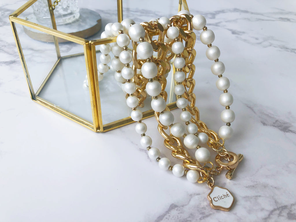 Cliché Layered Silicone Faux Pearls Necklace