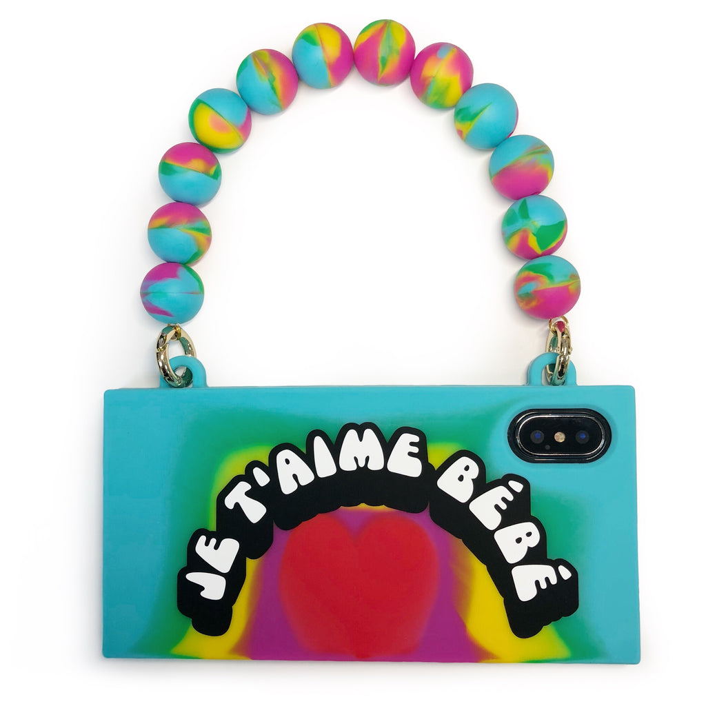 iPhone X/Xs Rainbow Handbag Case - JE T'AIME BÉBÉ!