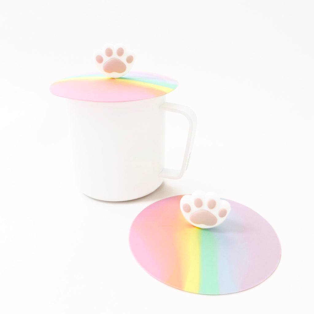 Pack of 2 Silicone Cup Lids (Paws/Rainbow)
