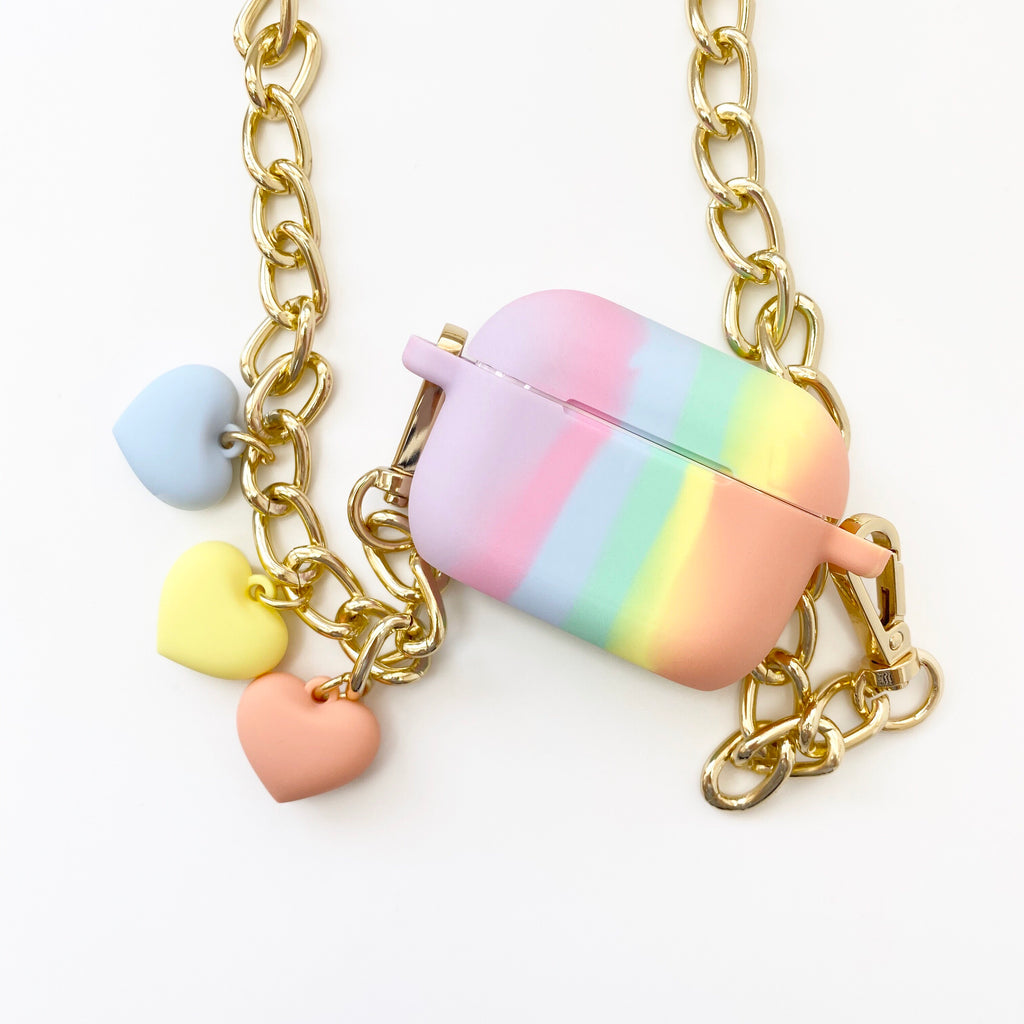 Light of Rainbow AirPods Pro Case with Hearts Strap