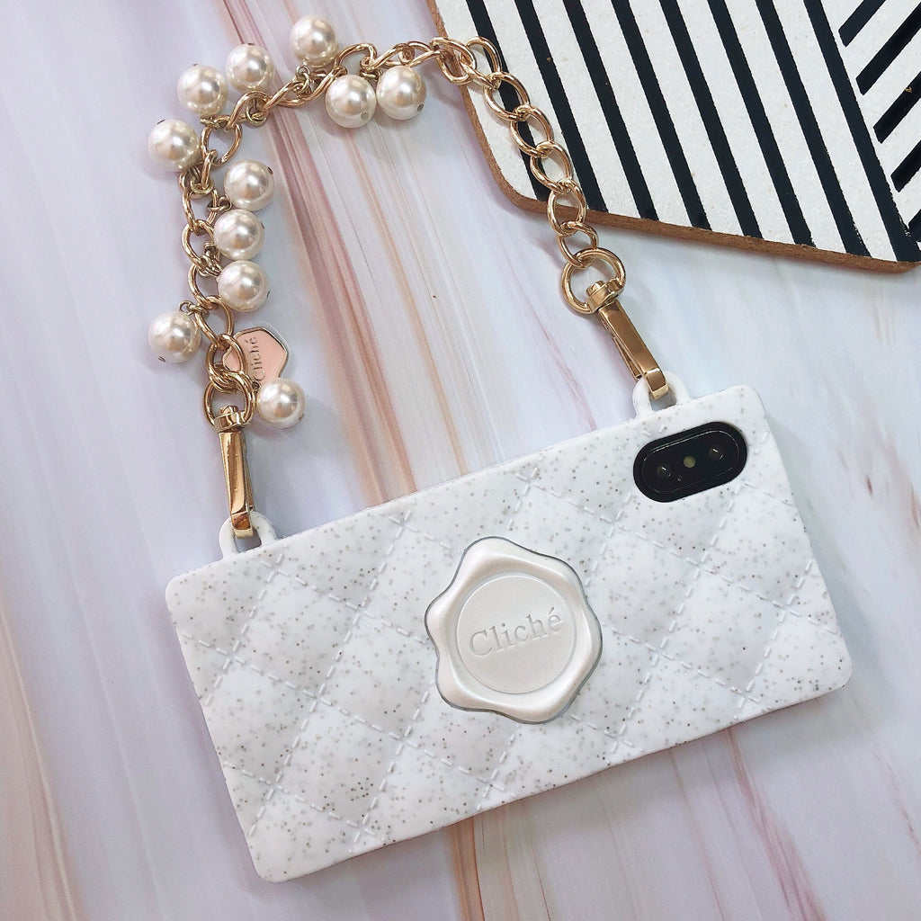 iPhone X/Xs Glittery Seal Stamped Case with WHITE Pearl Strap