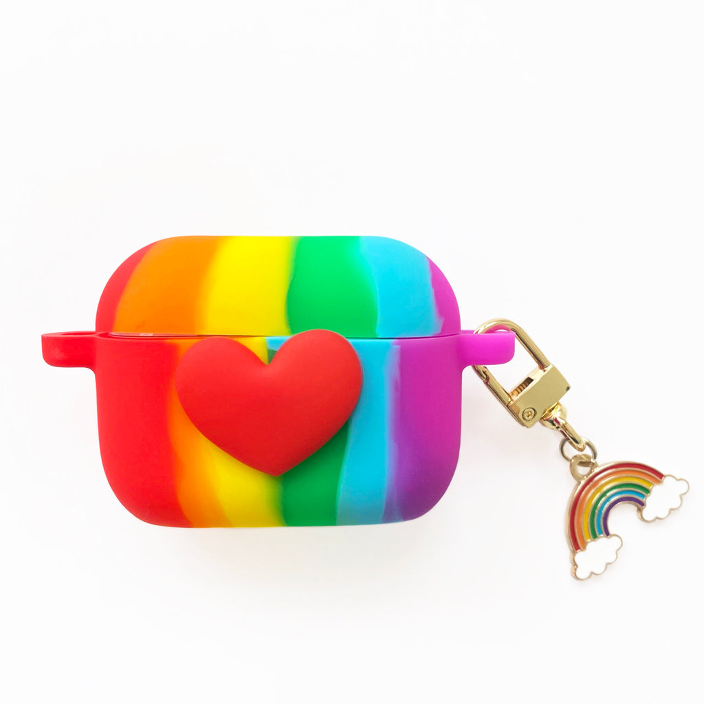 AirPods Pro Silicone Case - Bright Rainbow and Heart