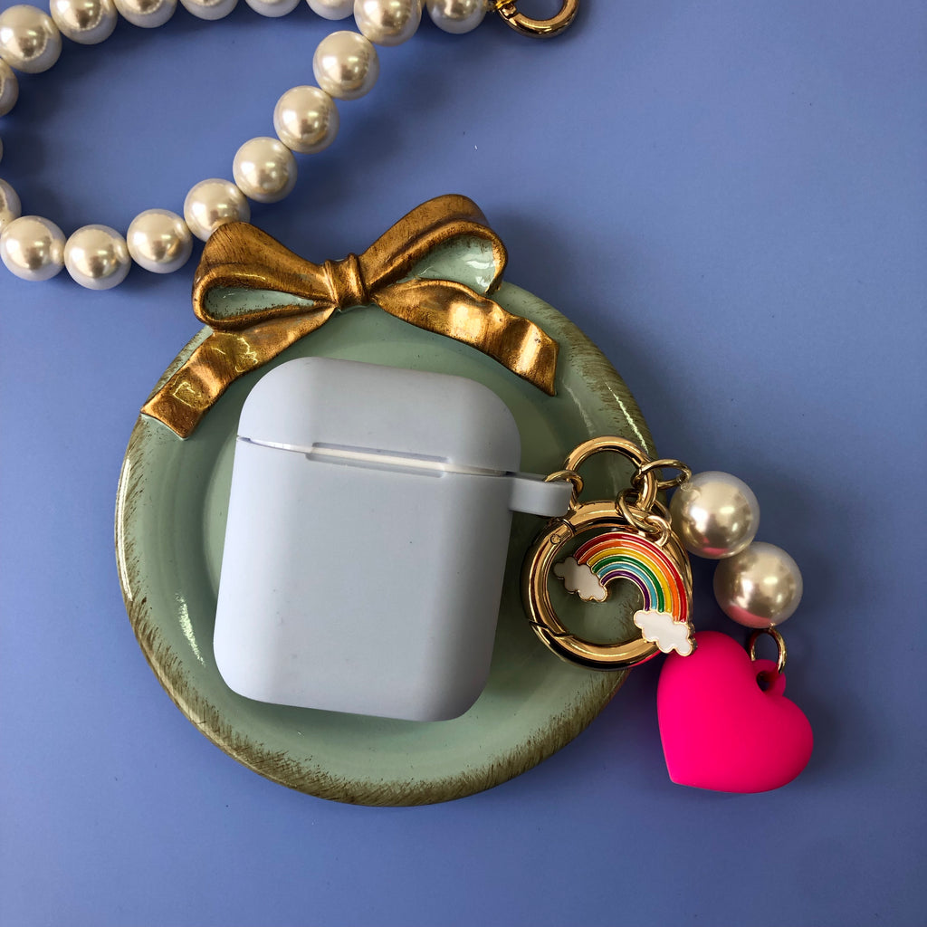 Blue Silicone AirPods Case with Pink Heart