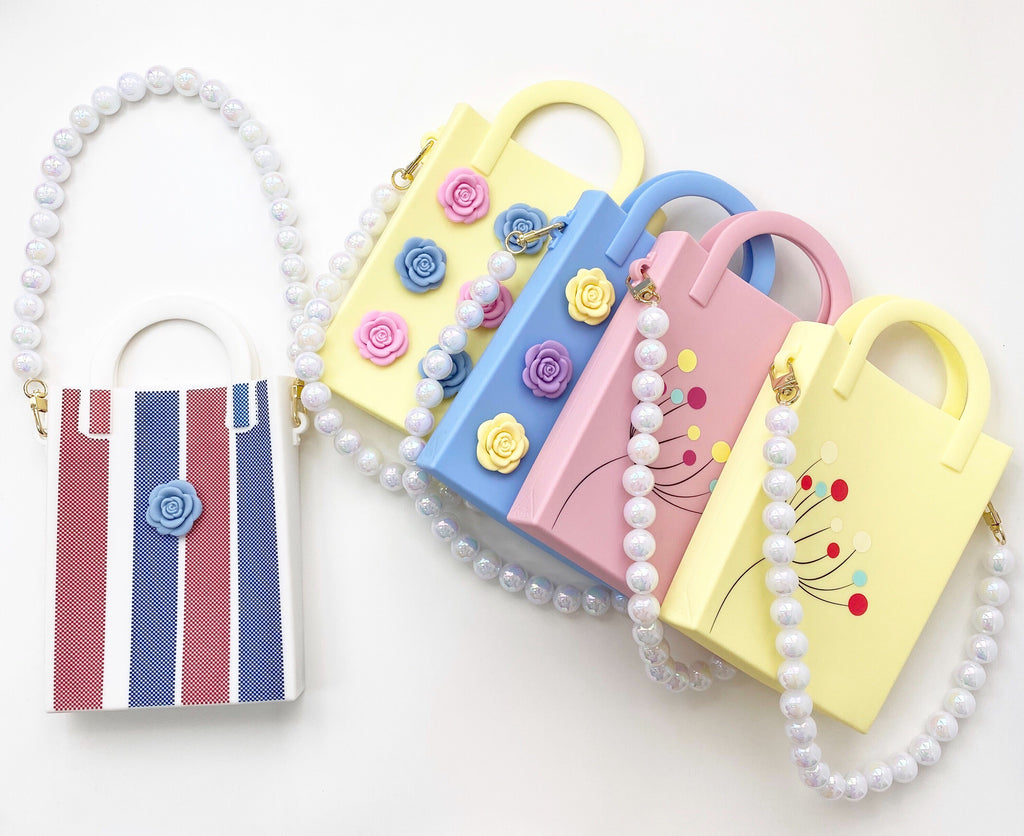 Mini Tote Bag with Plastic Pearls Strap