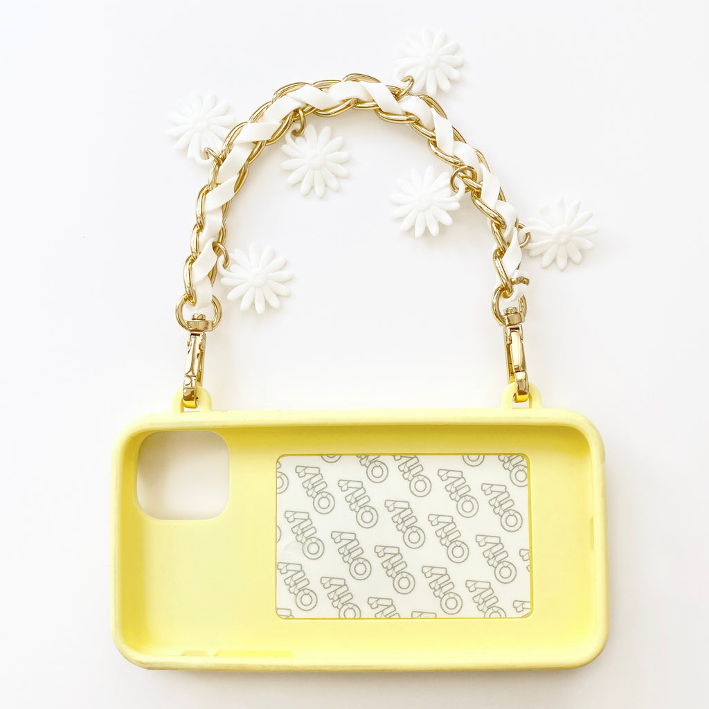 iPhone 11 Pro Max Seal Stamped Case with Daisy Charms Strap (Yellow)