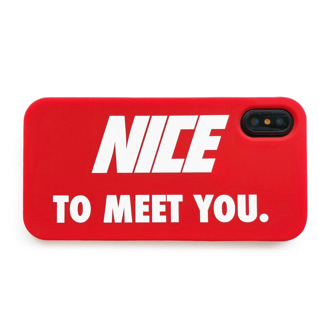 iPhone X/Xs Simple Case - Nice to Meet You (Red)