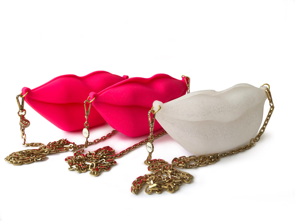 Big Kiss Silicone Bag with Long Metal Chain