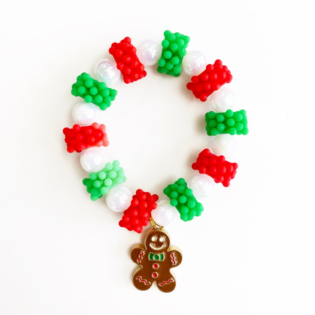 Festive Bracelet with Gingerbread Man Charm