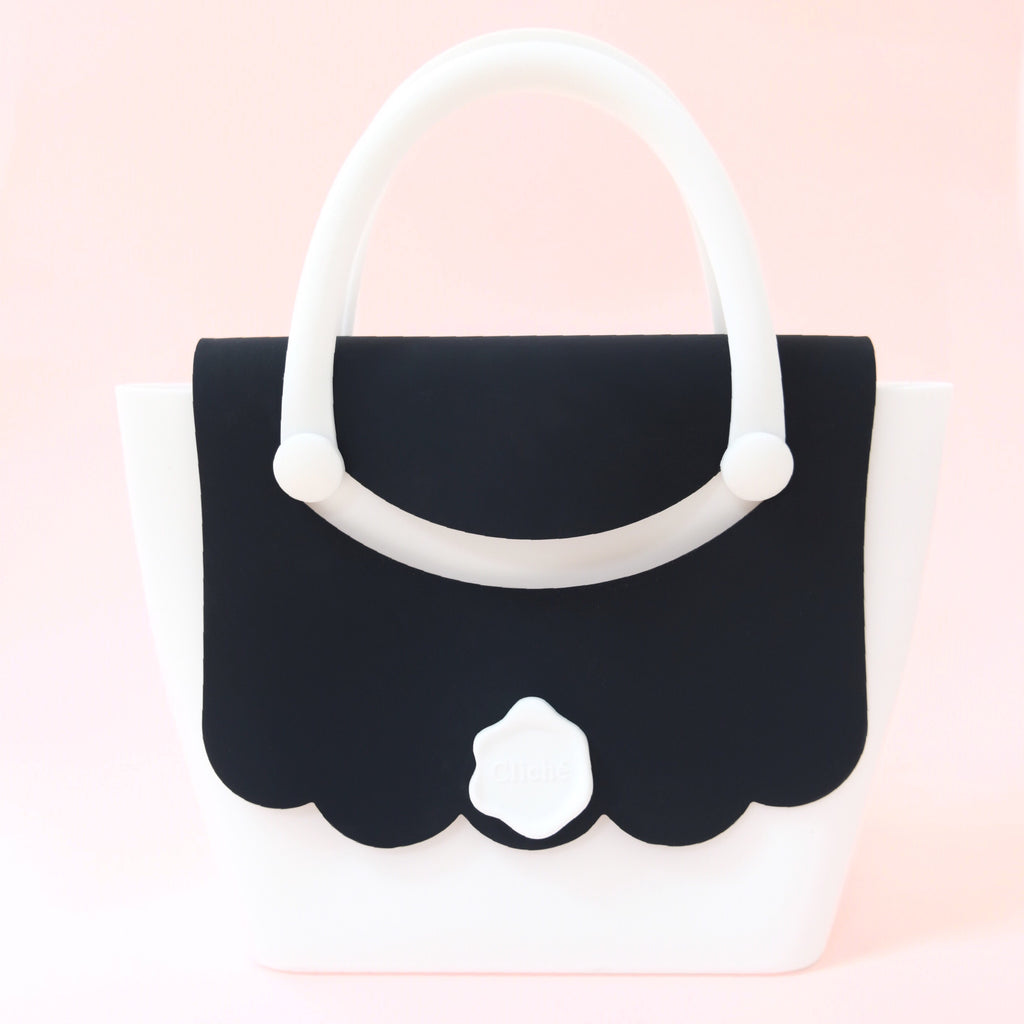 Jumbo Boat Handbag (White/Black)