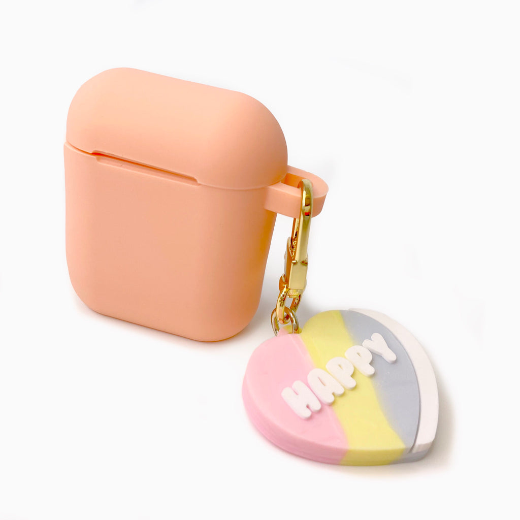 Peach Silicone AirPods Case with Happy Heart Candy Charm