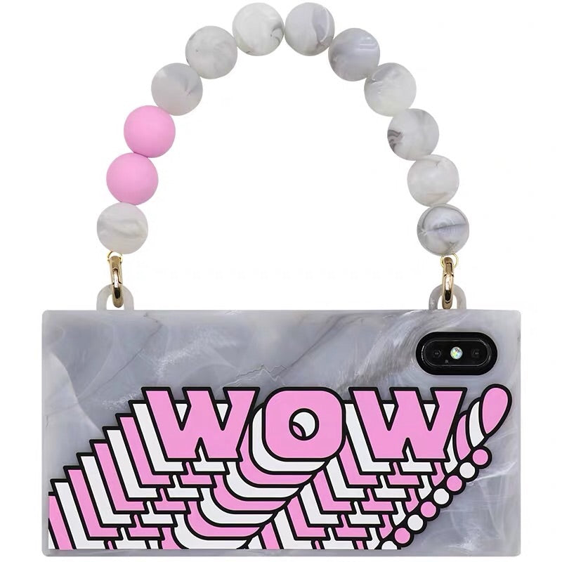 iPhone XS Max Marble Handbag Case - (WOW/Pink)