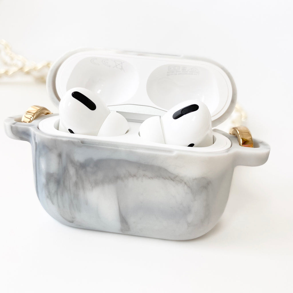 Marble AirPods Pro Silicone Case with White Celebrity Strap