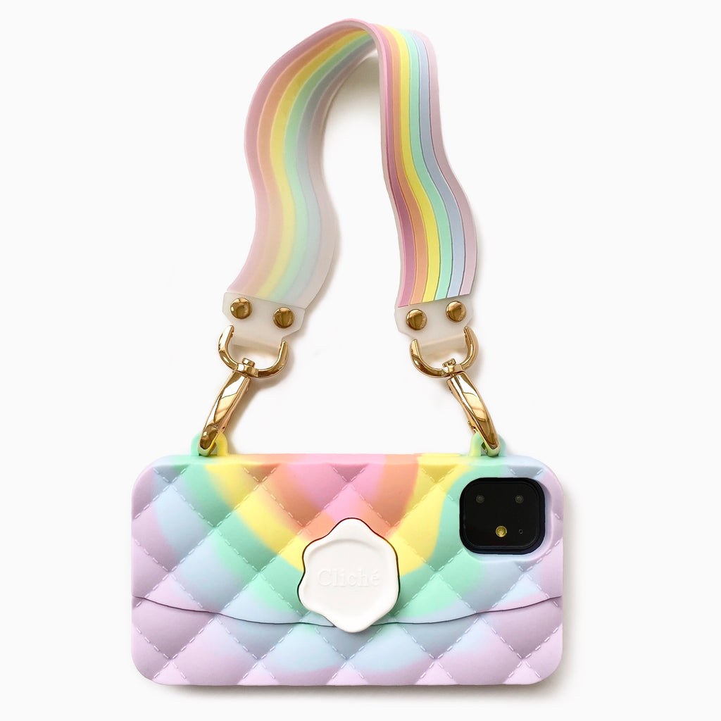iPhone 11 Light of Rainbow Seal Stamped Case with Pastel Illusion Happy Strap