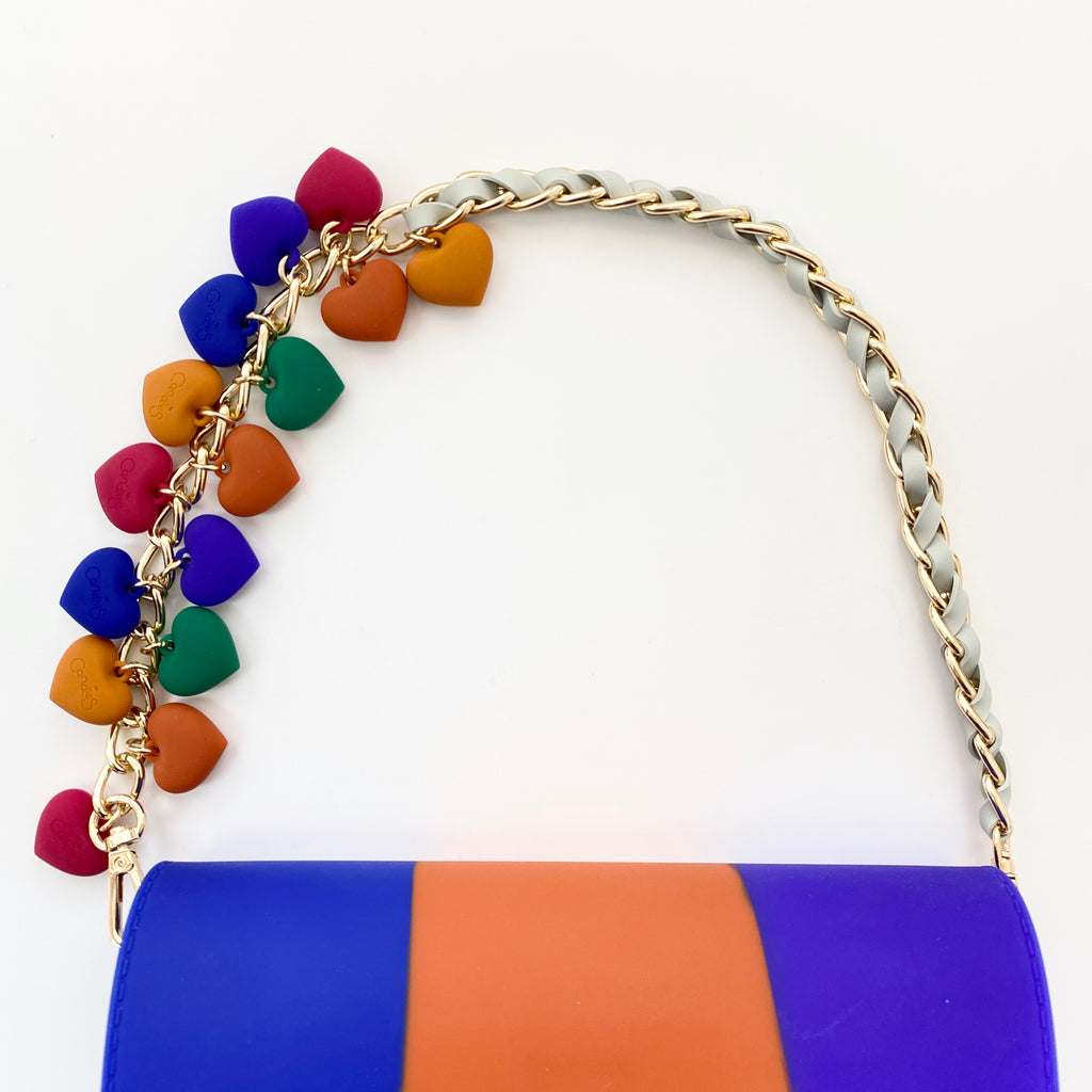 Candies Tri-colour Boy Bag with Hearts Celebrity Strap (Blue/Grey)