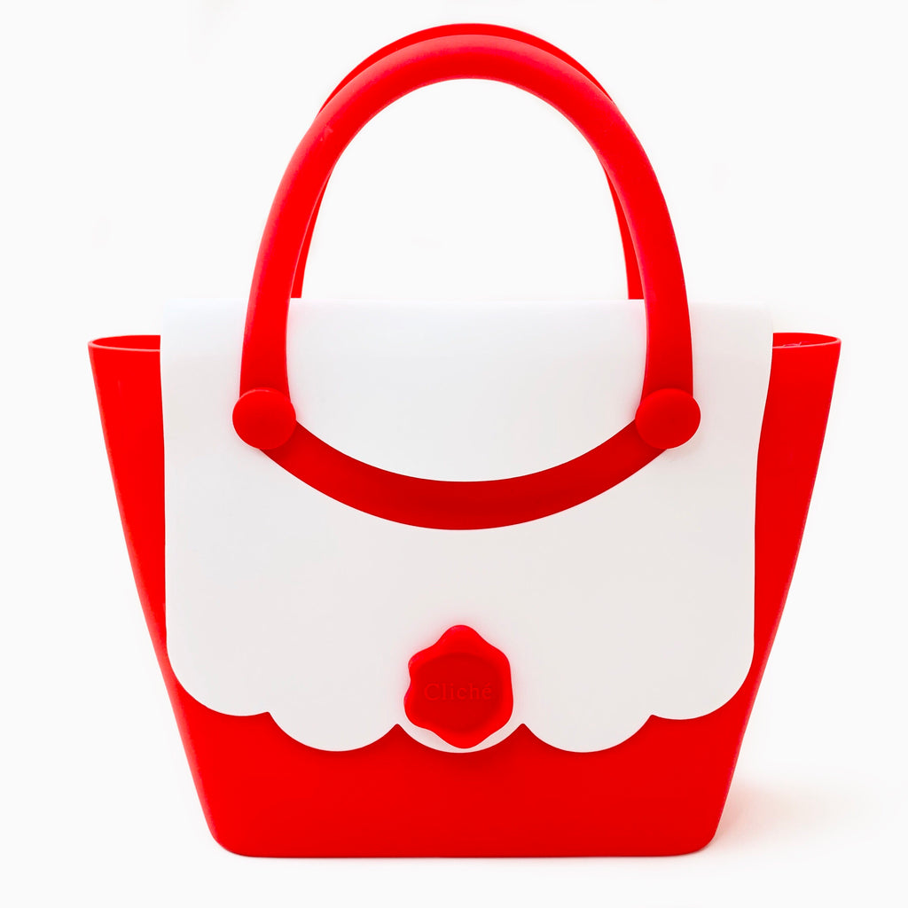 Jumbo Boat Handbag (White/Red)
