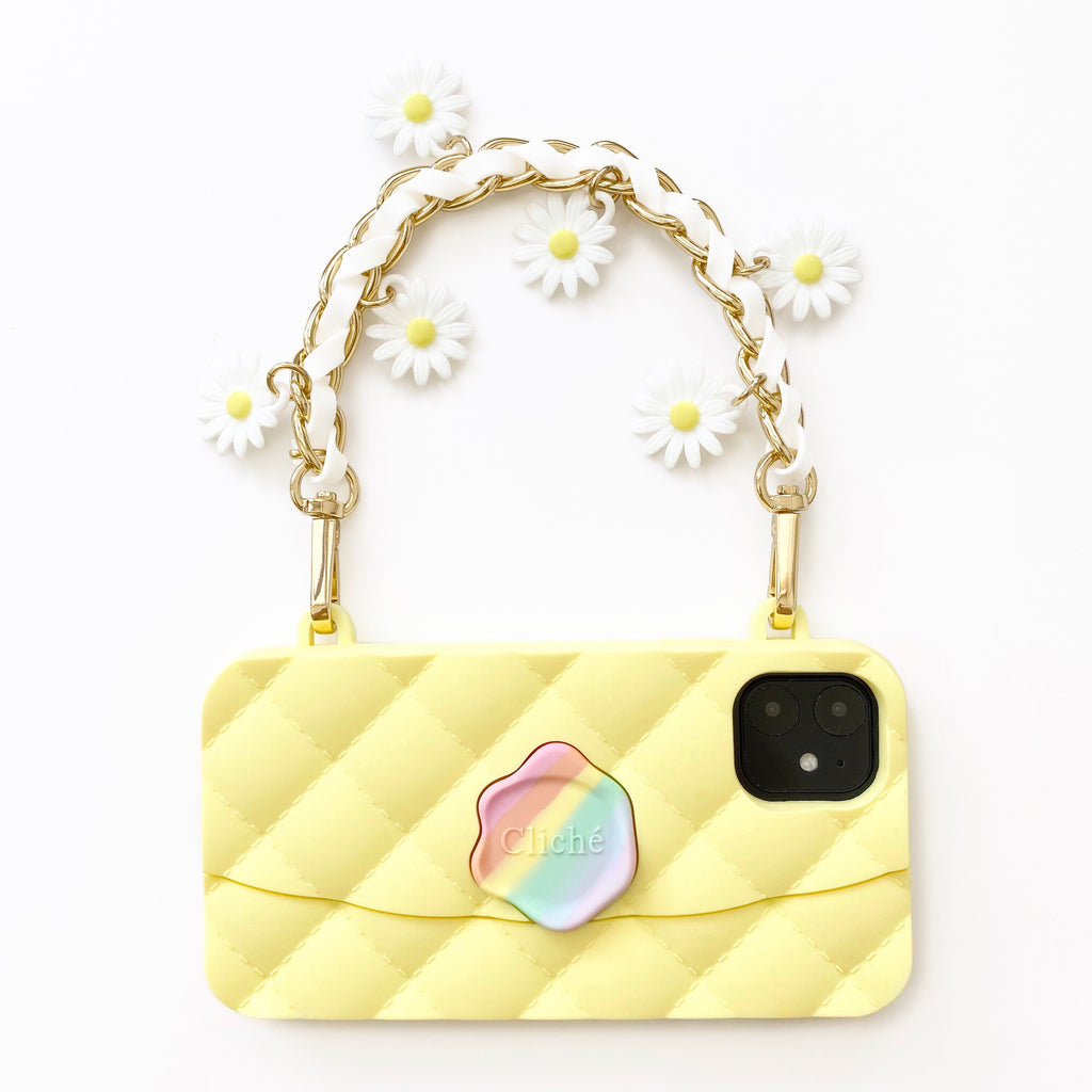 iPhone 11 Seal Stamped Case with Daisy Charms Strap (Yellow)
