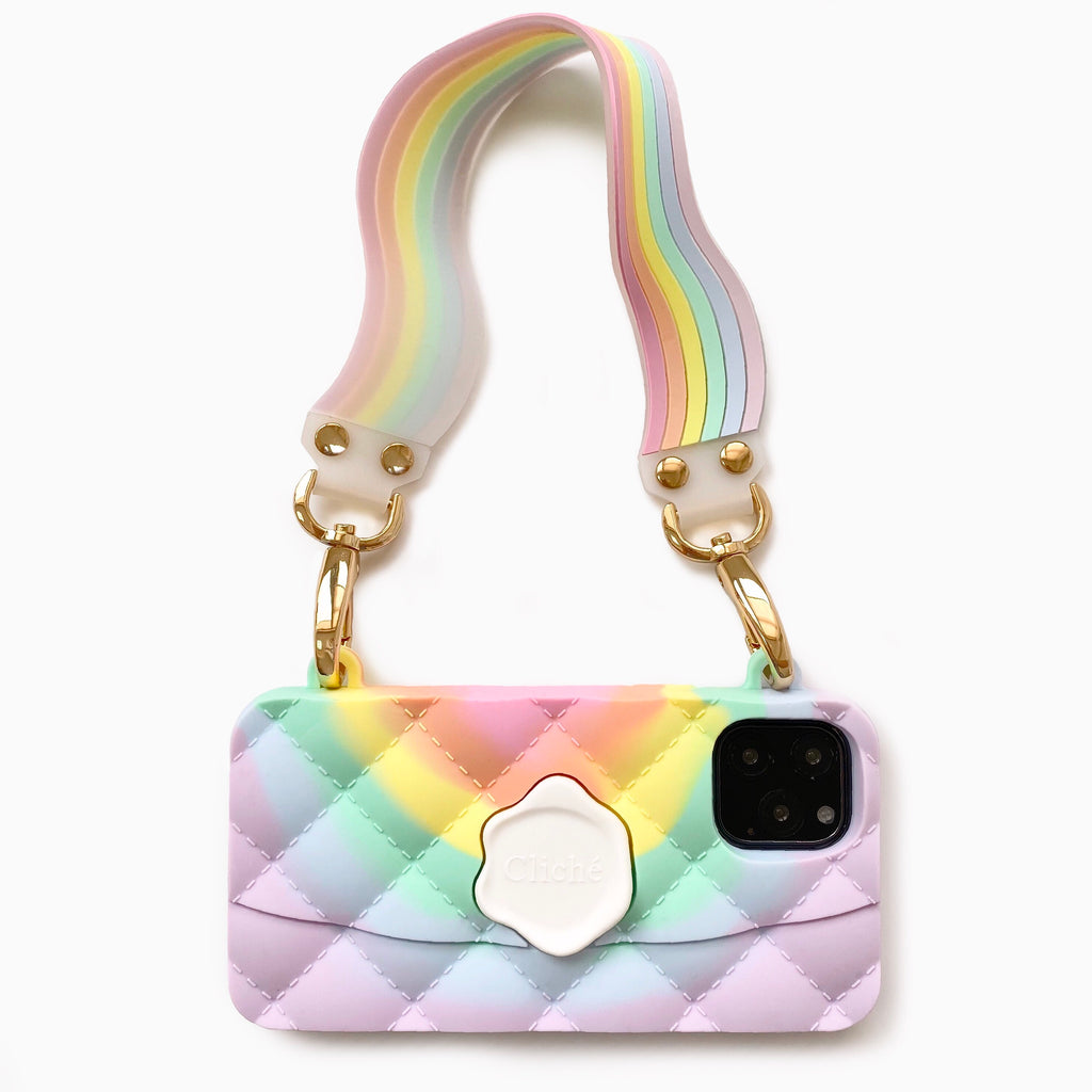 iPhone 11 Pro Light of Rainbow Seal Stamped Case with Pastel Illusion Happy Strap