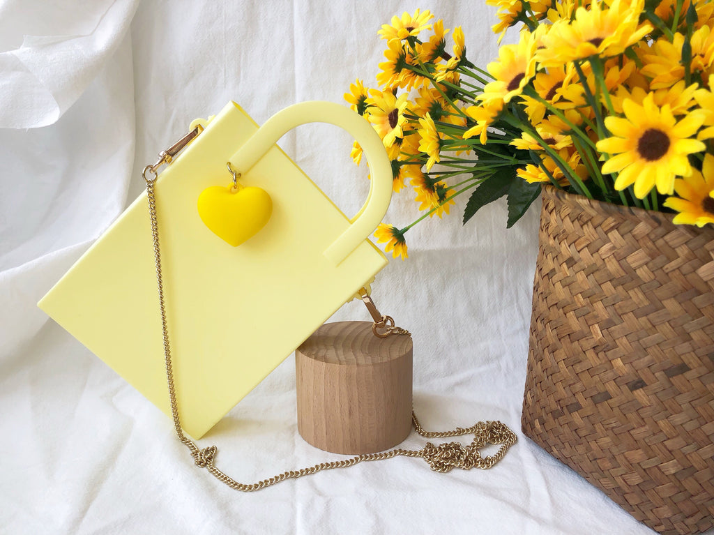 Mini Tote Bag with Heart Charm (Yellow)