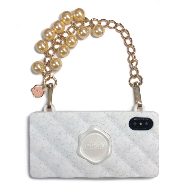 iPhone X/Xs Glittery Seal Stamped Case with GOLD Pearl Strap