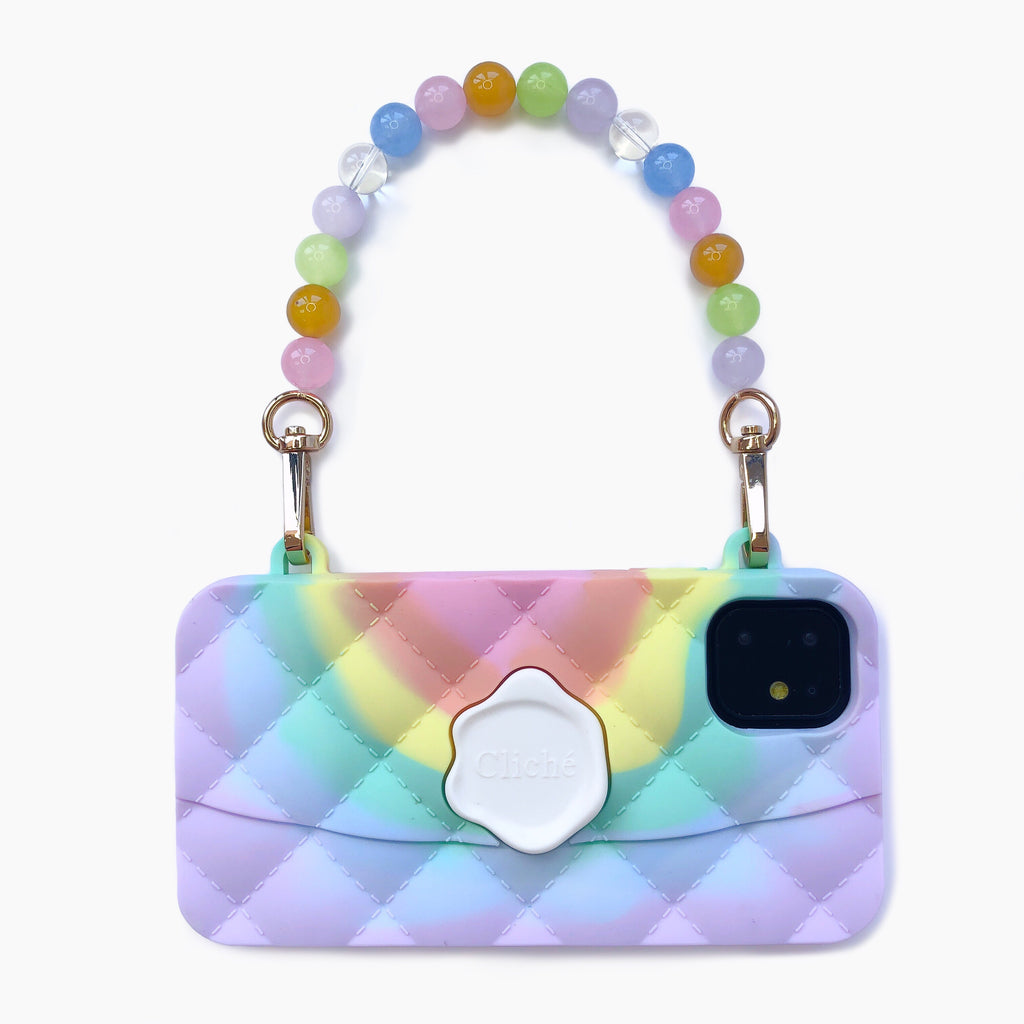 iPhone 11 Seal Stamped Case with Rainbow Crystal Strap